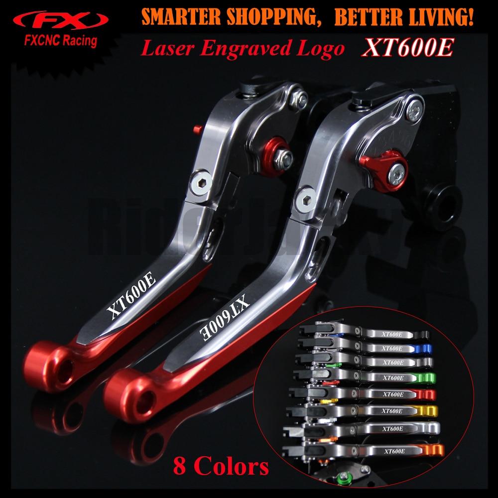 For Yamaha XT 600E XT600E 1998-2003 1999 2000 2001 2002 Red+Titanium Logo Motorcycle CNC Folding Extendable Brake Clutch Lever<br>