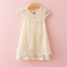 Girls Dress Summer Children Fashion Lace Princess Dress Kids Party O-Neck Dresses(China)