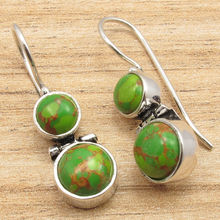 2 Natural Gemset GREEN COPPER Turquois ART Hinge Earrings Silver Plated Jewelry 3.0 cm