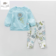 DB4439dave bella spring baby girls fancy clothing sets kids floral clothing sets sunflour girl boutique sets(China)