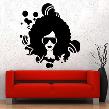 Wall Vinyl Stickers Home Decor Living Room Sofa Background Music Black Afro American Girl Disco Guaranteed Quality Decal(China)