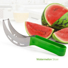 Watermelon Slicer Cutters Fruit Knife Cantaloupe Splitter Fruit Cutter with Plastic Handle Tongs Kitchen Tools
