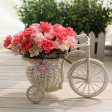 Free shipping high-grade float rattan floor vases artificial flowers artificial flowers silk roses suit European home decoration