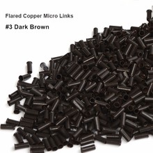 1000 pieces 3.1*2.7*4.0MM flare Euro Lock copper tubes Micro Rings links beads for stick I tip hair extensions