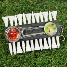 Custom Golf Accessory Set Golf Tee Holder+Golf Tee+Customized Ball Marker+Customized Golf Divot tool+Pencil+Ball Chain
