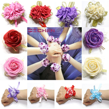 20pc Handcrafted Wrist Corsage Bracelet Artificial Silk Rose Flowers For Wedding Hand Flower Bouquet For Bride Event Supplies