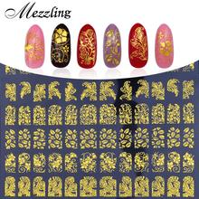 3D Nail Art Stickers Decals,108pcs/sheet Charm Gold Metallic Mix Flowers Designs Nail Tips Decoration,DIY Beauty Nail Art Tools(China)