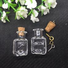 20sets/lot square handmade diy Glass CUBE vial cork Lampwork pendant charm 2ml box tiny Perfume essential oil Bottle Findings