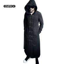 Winter men trench coat male fashion long belt trench jacket gothic rock hooded woolen windbreaker stage costume N3