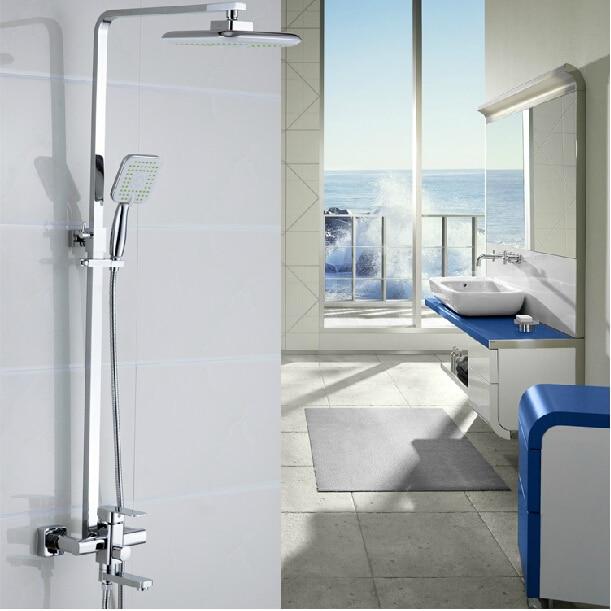 Exposed Wall Mount Bathroom 8 Rain Shower Faucet Sets Single Handle Tub &amp; Rain Shower Fixtures Chrome Finish<br><br>Aliexpress