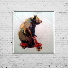 Hand-painted Canvas Oil Paintings Lovely Bear Riding Bicycle Wall Art Animal Modern Abstract Oil Painting Bear for Home Decor(China)