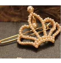 TS023 Latest Fashion Crown Korean Version Of The Full Multi-Pearl Inlay E dge Clip Hairpin Shape Jewelry Factory Direct