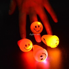 2018 LED Flashing Smile Face Rings Blinking Light Up Soft Jelly Finger Rings Kids Gift Glow Party Christmas Navidad New Year(China)