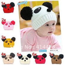 DHL&EMS Free Shipping!Panda Design Baby Hats Children Crochet Hat Cartoon Baby Winter Cap Beanies Headwear Christmas Gift