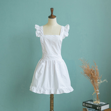 White/ pink Lace Apron Kitchen Cooking Waitress Bibs Pinafore Maid Cinderella Alice Bibs With Pocket High Quality Wholesale