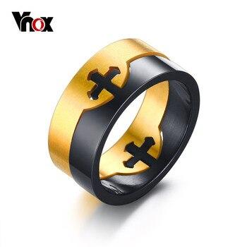 Vnox Removível Anel Cruz de Aço Inoxidável Único dos homens da Jóia Do Casamento