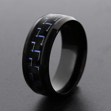 1 Pcs Fashion New Unisex Carbon Fiber Stainless Steel Simple Men Ring 8mm Stainless Steel Rings Wedding Jewelry Gift 3 Colors(China)