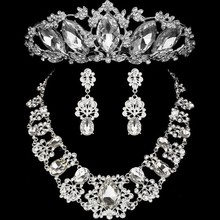 2017 Fashion Design Flower Crystal Brides 3PCS Necklace Earrings Tiaras Crowns Bridal Wedding Jewelry Set Accessories For Women(China)