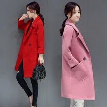 Hot 2017 Winter Fashion Women Wool Blend Trench Coat Cashmere Female Long Jacket Thick Red Pink Gray Single Button Overcoat P973