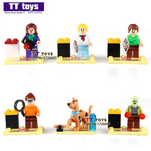 Building Blocks 6pcs/set JLB27901-27906 Cute Cartoon Movie Scooby Doo Dog The Host Sharqi Doll 3D Model Bricks Toys