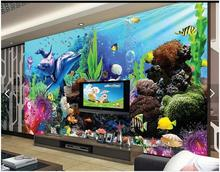 Custom 3d photo wallpaper 3d wall murals wallpaper Sea Aquarium 3D stereo TV backdrop of tropical fish 3d living room wallpaper(China)