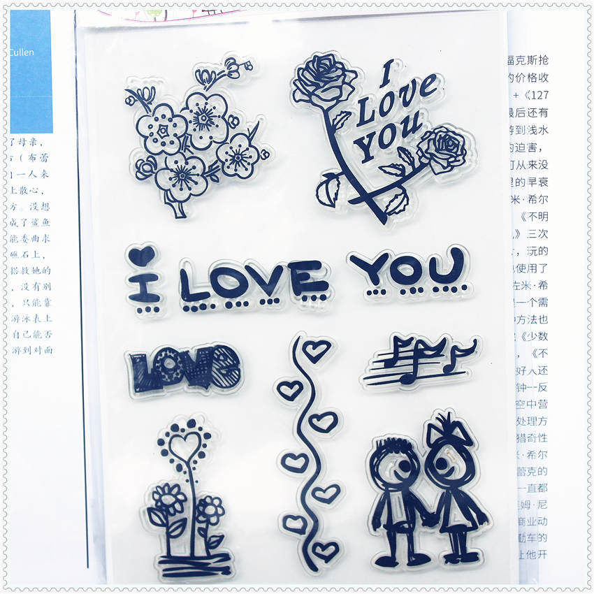 11.3*15.56cm Couples roses Transparent Silicone Rubber Clear Stamps cartoon for Scrapbooking/DIY Christmas wedding album<br><br>Aliexpress