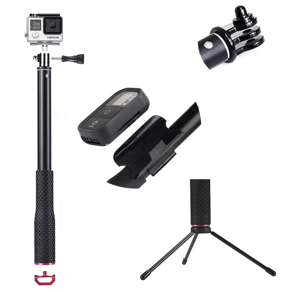 GoPro Remote Control Accessories For GoPro Hero 6 GoPro Hero 5  GoPro Hero 4 Session+Aluminum Remote Telescopic Pole Extendable Monopod For  GoPro Hero 5  GoPro Hero 6  GoPro Hero Session  GoPro Hero4 Session GoPro Hero 5 Session (3)