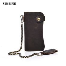 SIMLINE Vintage Genuine Crazy Horse Cow Leather Men Men's Long Hasp Wallet Wallets Purse Zipper Coin Pocket Holder With Chain(China)