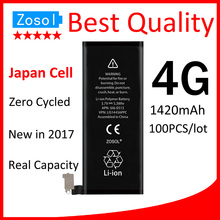 100pcs/lot Best Quality 0 Zero Cycled Battery for iPhone 4 4G 1420mAh 3.7V Replacement Repair Parts(China)