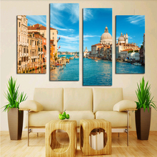 Modern Canvas Painting 4 Pieces Wall Art Italy Venice Landscape Oil Painting Beautiful City River Decorative Picture Home Decor
