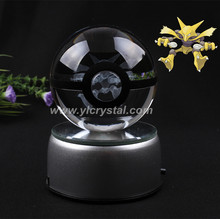 Free Shipping New Style Good Quality Alakazam Pokemon Ball With Engraving Crystal Ball  With Led base With Gift Box