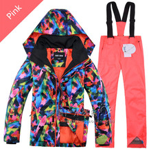 2017 Boys Girls Gsou Snow Ski Jacket+Pants Snowboard Outdoor Wear Camping Hiking Windproof Waterproof Ski Suit Warm Clothing Set(China)
