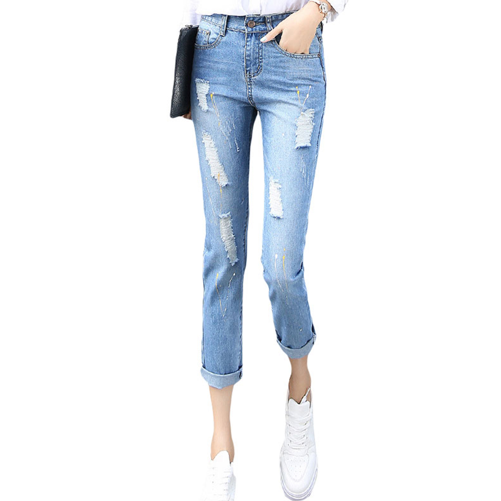 Korean Style Women Jeans Ankle-length Harem Denim Pants Casual Loose Skinny Femme Trousers Fashion Mid-waist Hole Ripped PantsОдежда и ак�е��уары<br><br><br>Aliexpress