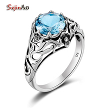 Szjinao Wholesale Punk High Quality 2ct CZ Blue Crystal 925 Sterling Silver Rings for Women Vintage Luxury Brand Jewelry China(China)