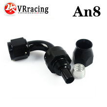 VR RACING - Black High Quality PTEF AN8 AN-8 90 DEGREE REUSABLE SWIVEL TEFLON HOSE END FITTING AN8 VR-SL6090-08-021