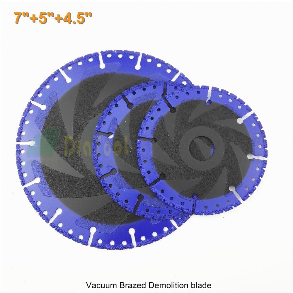 3 pcs/set 4.5+5 +7 Vacuum Brazed Diamond disc for multi Purpose 115mm+125mm+180mm rescue Diamond blade tough material cutting<br><br>Aliexpress