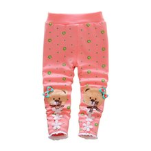 Winter Thick Fleece Lined  Boys Girls Bear Pants Trousers Pants Leggings Warm kids Clothing
