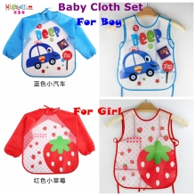New Born Baby Bib Burp Clothes Set Soft Feeding Eat Toddle Waterproof Cute Cartoon Colorful Baby Bibs Long Sleeve Art Apron