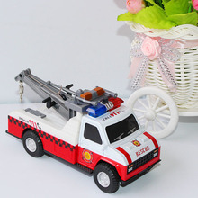 High Quality  1:28 alloy Car Toys Model Kids Children Police Crane Car Firefighting Truck Toy Musical Flashing Function