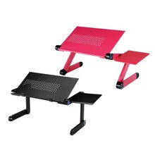 Laptop Table Aluminum Alloy Computer Desk Foldable Adjustable Cooling Table Stand Tray With Mouse Plate For Laptop Notebook(China)