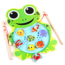 Promotion!! Baby Kids Magnetic Fishing Toys with Rod Cartoon Frog Cat Fishing Game Board Wooden Jigsaw Puzzle Educational Toy