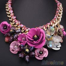 Adjustable  Hot Fashion Women Big Gold Chain Rhinestone Crystal & Rose Flower Bib Statement Necklace  1N9H