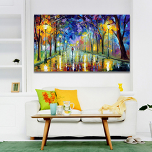 Palette Knife Painting Forest Trees Pictures Night Landscape Painting Bright Park Road Home Decoration Wall Art Canvas Prints
