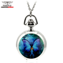 Butterfly Pocket Watch Floating Glass Lockets Necklace Antique Pocket Watch Necklace
