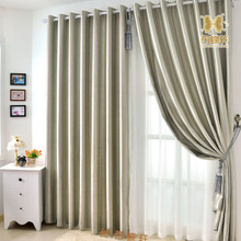 High Grade Modern Style Thermal Insulated light blocking Striped Suede Fabric Luxury Curtains Grey Blackout Curtain Drapes
