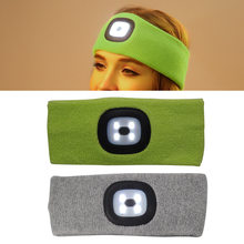 New 2Color Low Power USB Interface Outdoor Hunting Fishing Rechargeable Led Flashing Headband Wrap Knit Light For Nightfishing