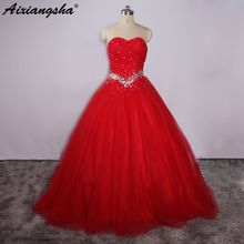 Simple Red Quinceanera Dresses Sweetheart Dress With Beading In Waist For Vestidos de 15 Anos Cheap Sweet 16 Dresses Debutante(China)