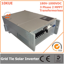 10000W/10KW 180V-1000VDC Three Phase 2 MPPT Transformerless Waterproof IP65 Grid Tie Solar Inverter with CE RoHs Approvals(China)