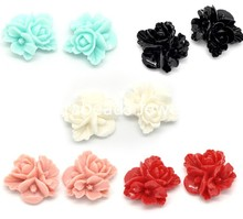 Doreen Box Lovely 50 Mixed Resin Flower Embellishments Jewelry Making Findings 16x16mm (B15613)