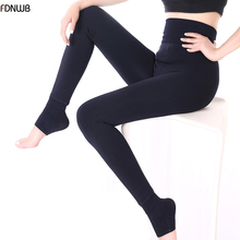 FDNWB - Warm Thick Plus Cashmere Winter Leggings Pants Slim High Elasticity Womens Faux Velvet Knitted Thick Slim Leggings(China)
